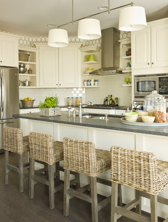 What a lovely kitchen. Using different materials and colours to give a fresh, lively feel.