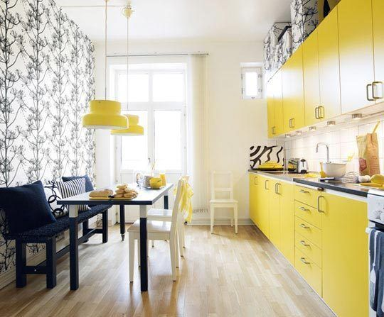 Black and Yellow, I think I will do this in our laundry room. Why not make it a happy room.