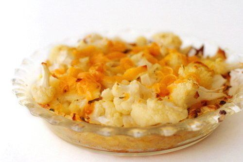 Cauliflower Cheese Pie with Grated Potato Crust from Crumbly Cookie