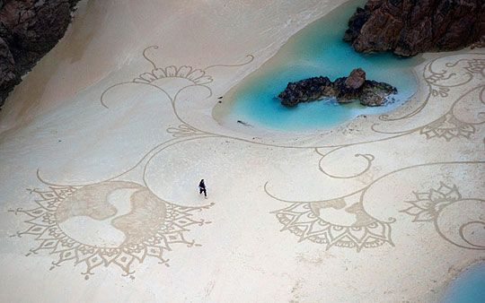 Drawing in sand