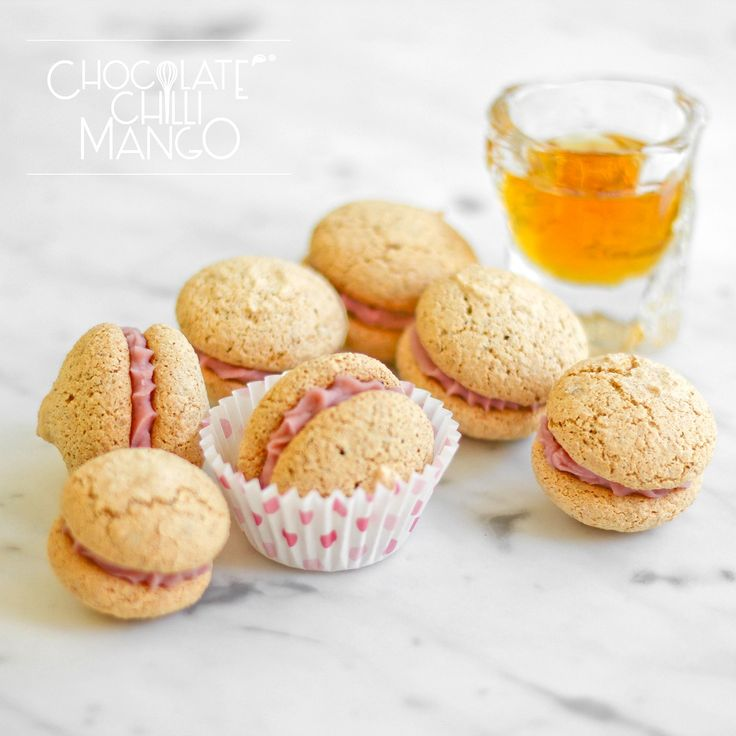 Amaretti ... just like the real thing with raspberry and white ...