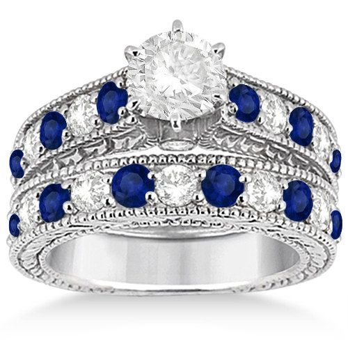 Sapphire Wedding Ring Sets Antique Diamond And Sapphire Bridal Ring Set In Platinum