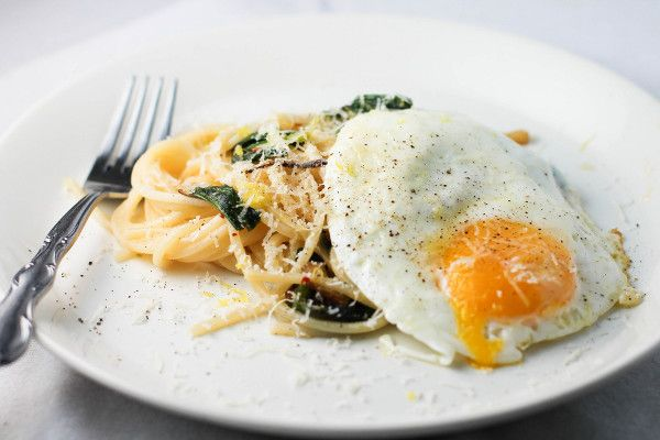 ramps and a fried egg food spaghetti pasta linguine ramps fried egg ...