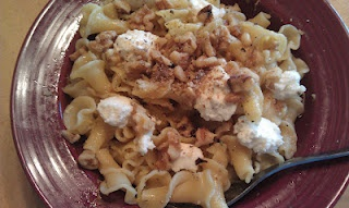 Dinner's on the table! Campanelle with Walnuts, Ricotta and Lemon