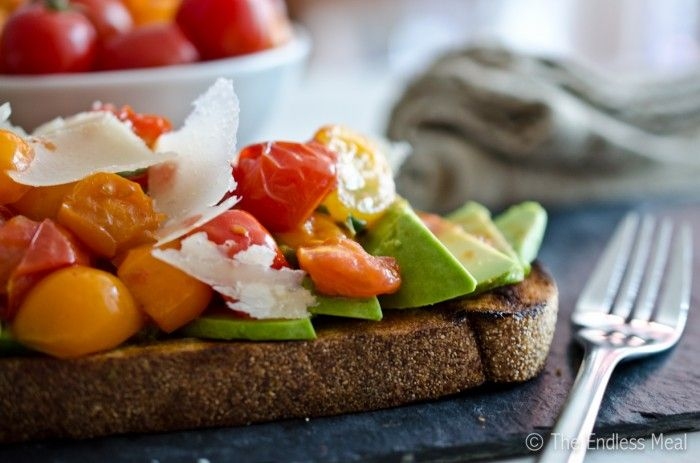 Tomato Avocado Toast with Shaved Parmesan Oh I'm gonna make this but ...
