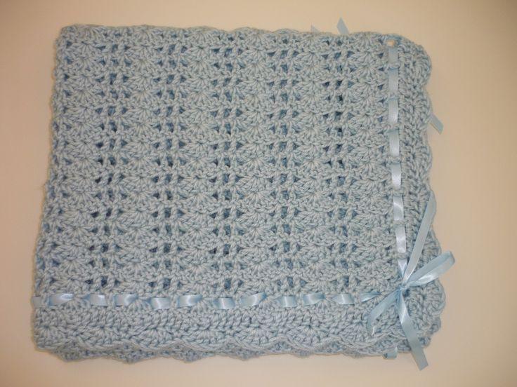 Baby Afghan Blanket Blue Crochet Afghan Blanket With Satin ...