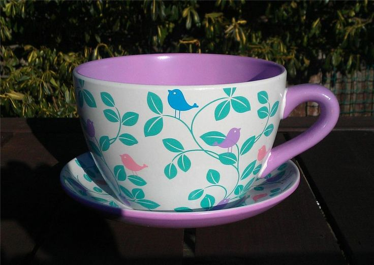 Giant Tea Cup And Saucer Planter Coloured Bird And Leaf Design