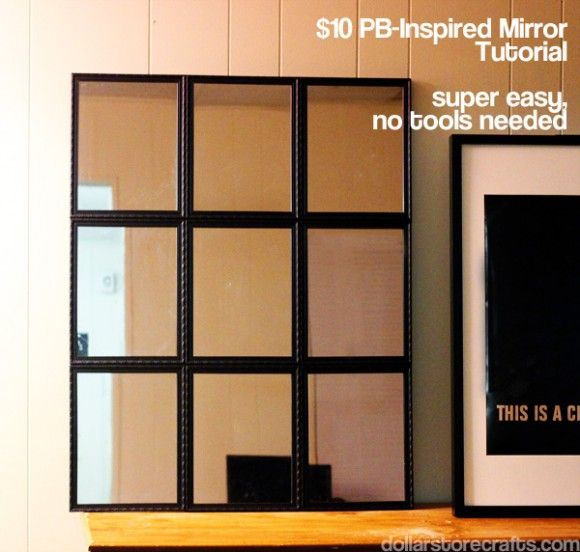 Dollar Store Crafts » Blog Archive Tutorial: PB-Inspired Tiled Mirror for $10 » Dollar Store Crafts 9 framed mirrors, $9 Duct tape, on hand Piece of black foam core board, $1 Ribbon or picture-hanging wire, on hand or $1 Craft glue, on hand Hot glue & glue gun, on hand