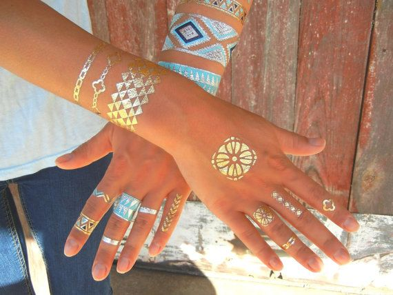 Geometric Jewelry, Gold Metallic Tattoos by ShimmerTatts, $10.95, the Hottest NEW in Fashion 2014 #MetallicTattoo #GoldTattoos #TattooJewelry