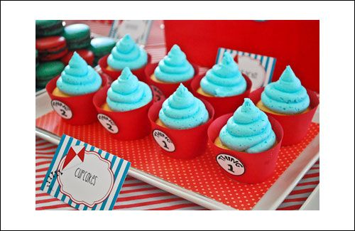 @Verna Garton Puckett Dr Suess Themed Party cupcake idea...