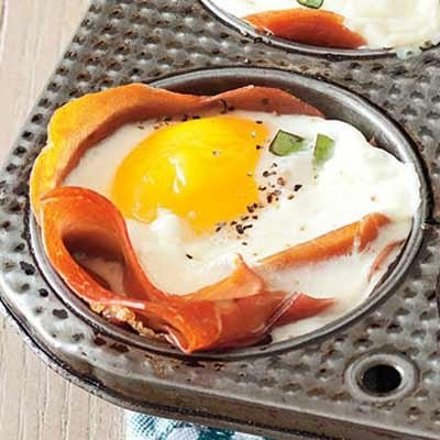 Baked Prosciutto and Egg Cups | Recetas y postres | Pinterest