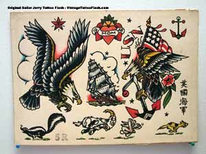 sailor jerry flash ship  Found on vintagetattooflash.com