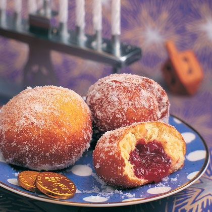 Sufganiyot (aka jelly doughnuts) which are traditionally served during ...