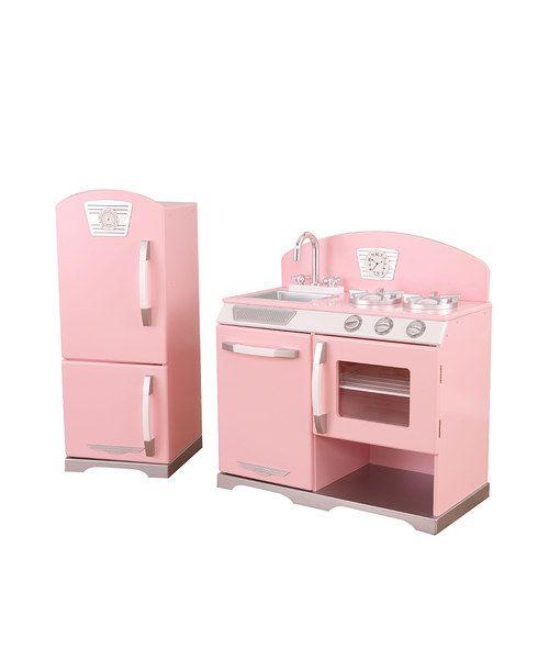 Pink stove refrigerator retro kitchen set for Matching kitchen sets