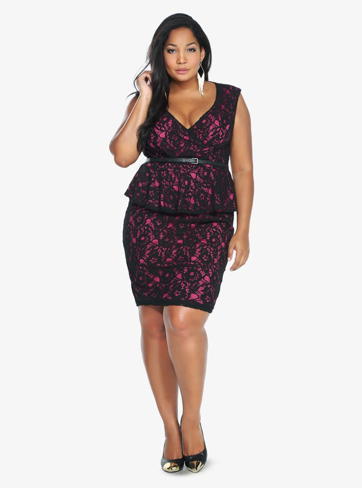 Berry black lace peplum dress torrid plus size for Sites like touch of modern