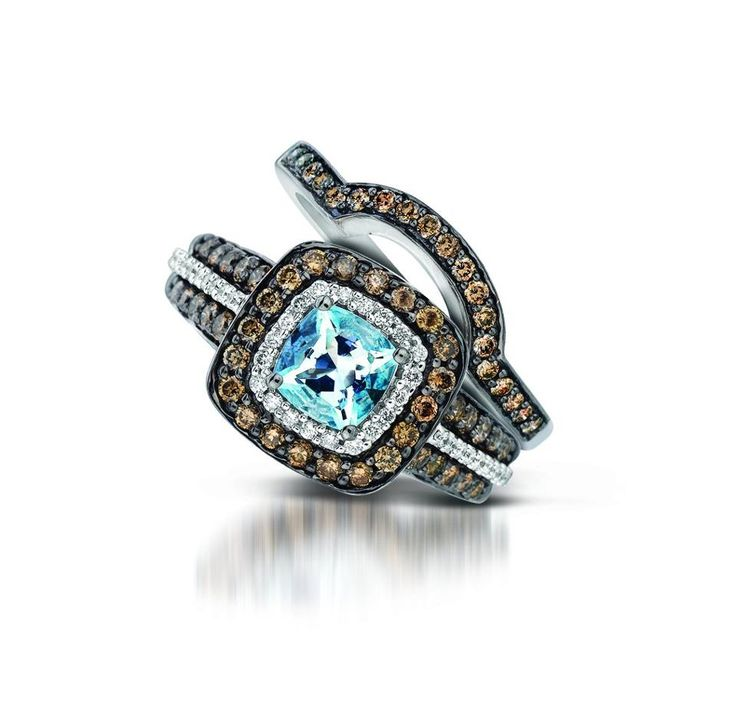 Matching Band for Le Vian's Sea Blue Aquamarine Ring- love the non-traditional engagement rings and wedding bands!