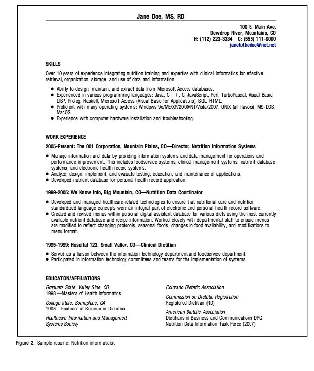 Resume For Dietetics Student