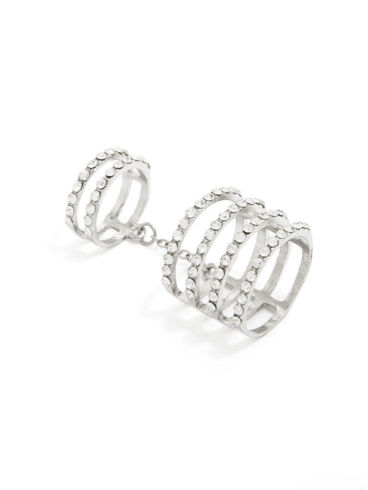 This set of two rings features a four-band statement ring and a double-band midi ring, all covered in pavé for a stylized set that creates a major crystal statement.