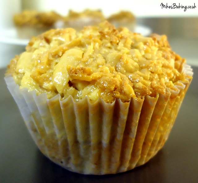 Roasted banana coconut muffins with toffee coconut peanut topping