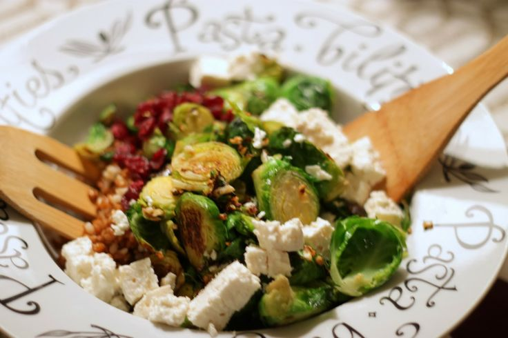 Brussel Sprout Salad w/ Wheat Berries, Cranberries and Feta. Featuring ...