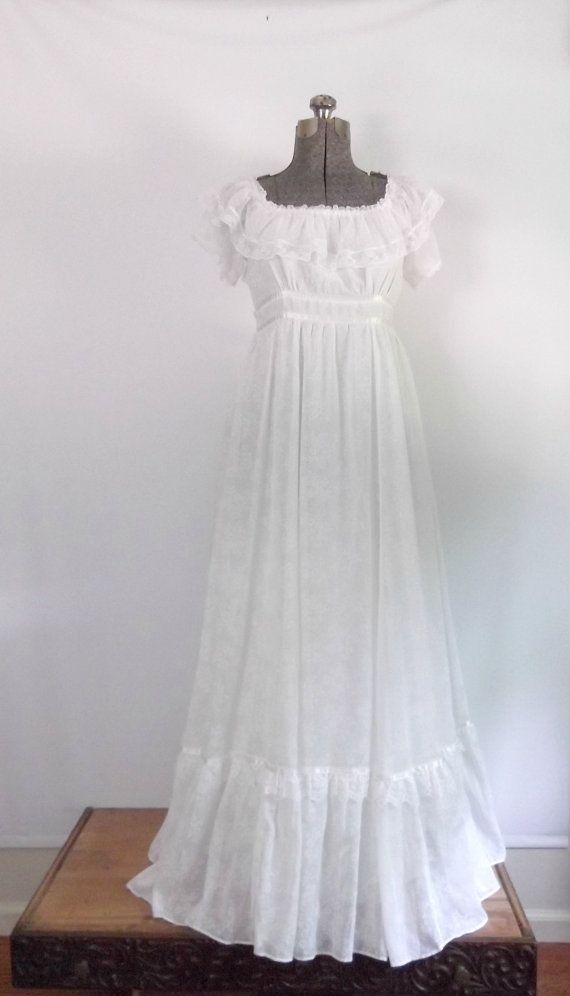 1970s gunne sax wedding dress white boho maxi dress