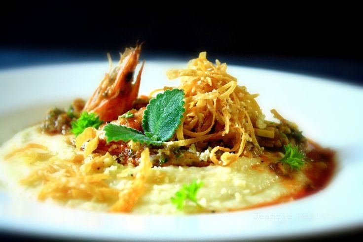 ... creamy parmesan grits, topped with shredded parmesan-black pepper