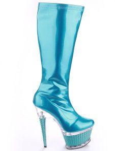 Blue Patent Leather Glitter Zipper Women's Sexy High Heel Boots