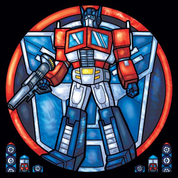 Optimus prime from transformers stained glass by fayproductions 8 00