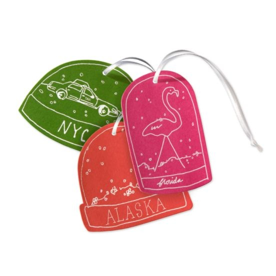 kate spade snow globe gift tags