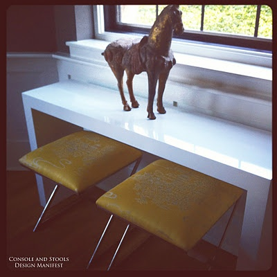 vintage horse sculpture, lacquered table and chinoserie silk footstool
