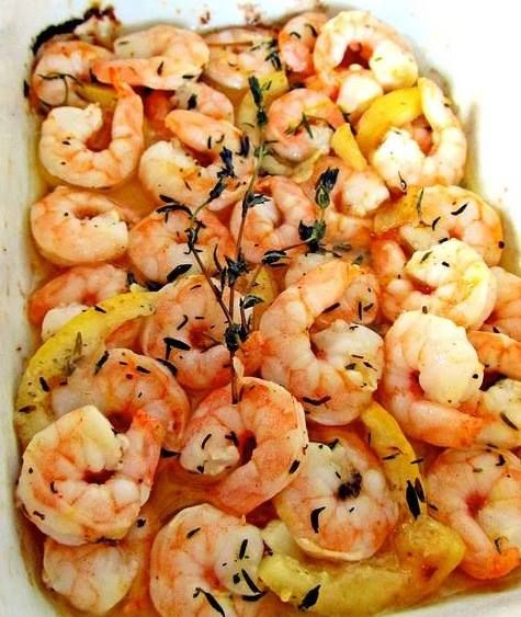 Roasted shrimp and angel hair spaghetti with garlic, thyme and lemon.