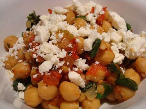 chickpeas with spinach and feta | food | Pinterest