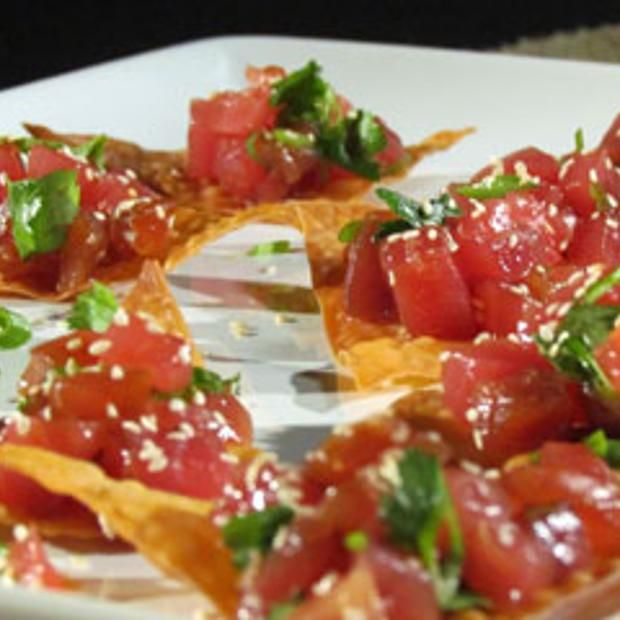 Asian Tuna Tartare With Crispy Wontons   Appetizers   Pinterest