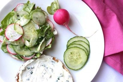 cucumber and radish sandwich with lemon-herb goat cheese spread ...