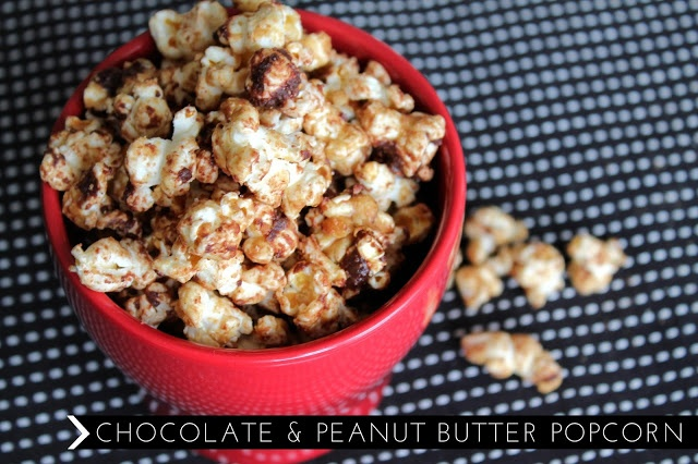 Chocolate + Peanut Butter Popcorn | Food | Pinterest