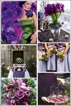 Wedding, Cake, Green, Purple, Silver