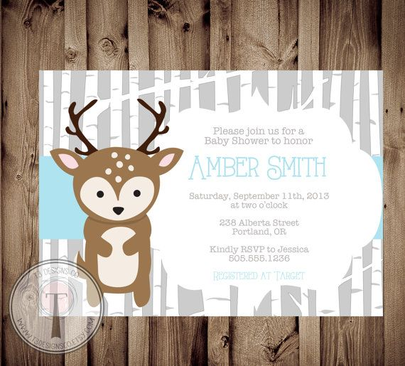 baby deer baby shower invitation baby shower invite animals deer
