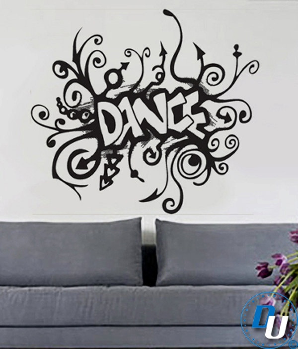 Dance removable vinyl wall decal art decor sticker mural for Decal wall art mural