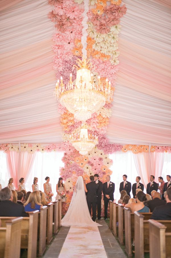 Fabulous flowers in the ceiling draping