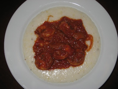 Shrimp and grits with a tomato-base shrimp sauce.