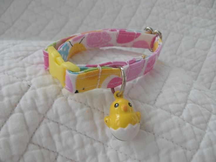 Easter Cat Collar Easter Eggs with Chick Bell  Breakaway Collar Custom Made. $9.50, via Etsy.