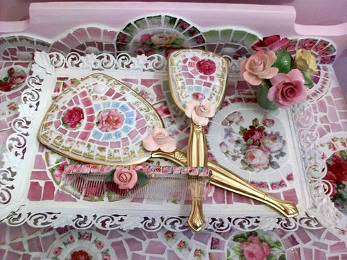 Shabby Mosaic 3 Piece Vanity Set by hillspeak