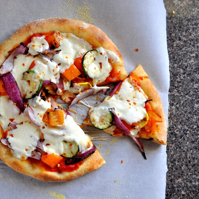 Grilled Vegetable Pizza, use whole wheat pizza crust