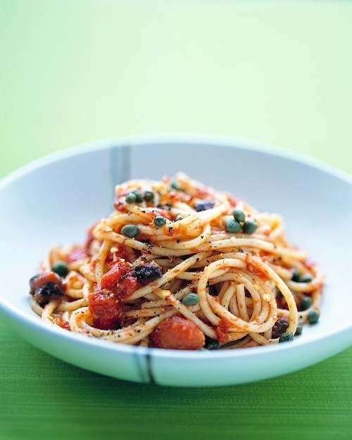Spaghetti Puttanesca - most of the ingredients for this simple dinner ...