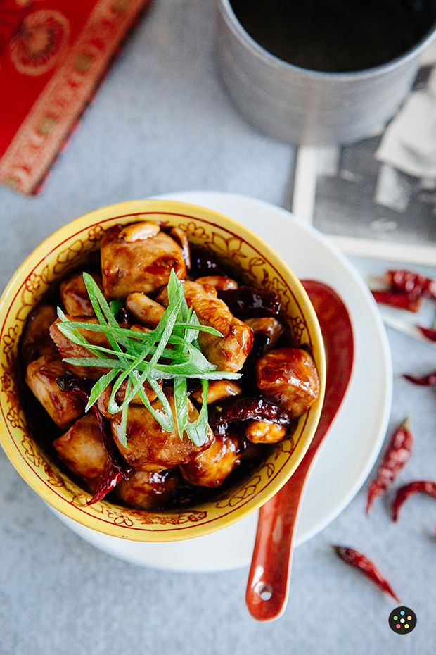 spicy Szechuan dish made with diced chicken, chili peppers and peanuts ...