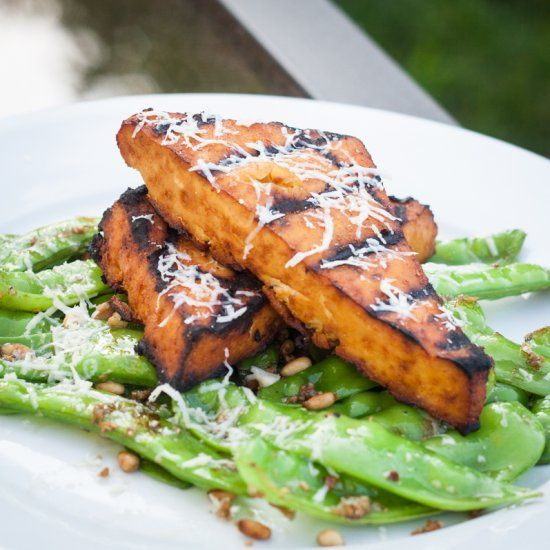 "Grilled Sriracha Tofu ""Steaks"" with Sauteed Garlic Snow Peas. Glute..."