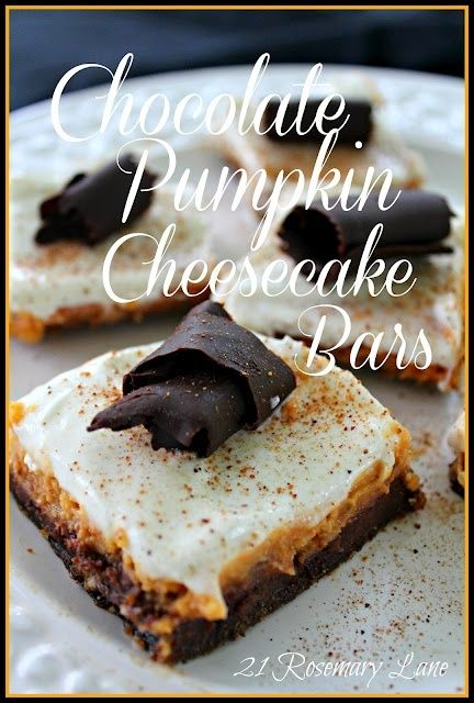 Chocolate Pumpkin Cheesecake Bars | Cooking | Pinterest