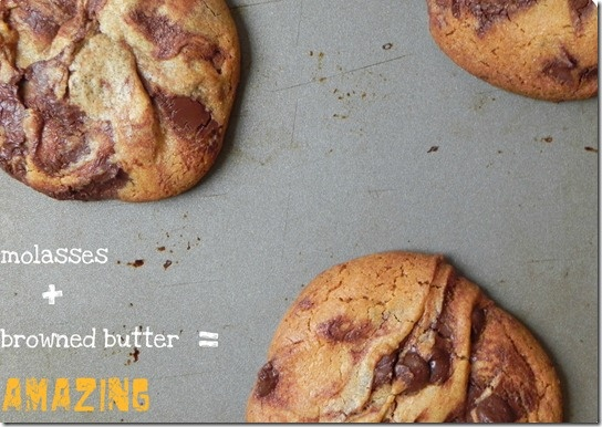 Browned Butter and Molasses Chocolate Chip Cookies