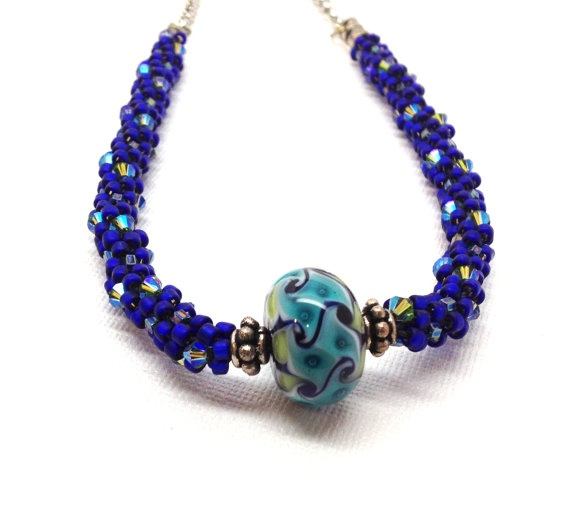 statement necklace cobalt blue beaded kumihimo jewelry