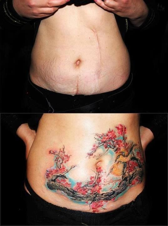 Scar cover up tattoo pinterest for Stretch marks tattoo cover up